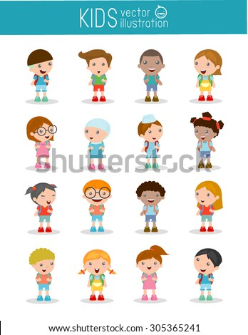 Set of diverse Kids and Different nationalities isolated on white background, Kids go to school, back to school, Cute cartoon children, happy children, Vector Illustration. - stock vector