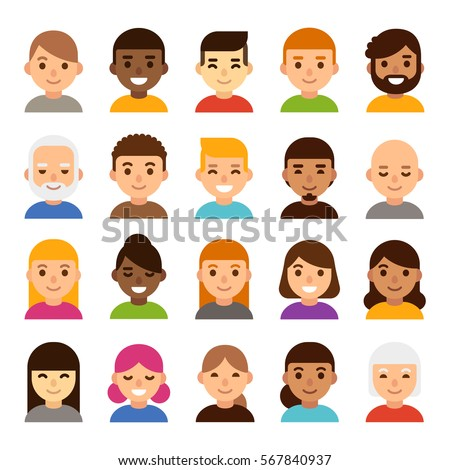 Set Diverse Male Female Avatars Simple Stock Vector