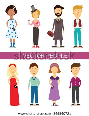 Set of diverse people characters isolated on white background. Different nationalities and dress styles. Cute and simple flat cartoon style. People characters. Vector - stock vector