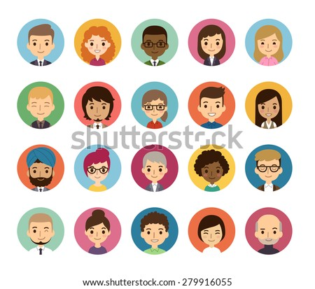 Set of diverse round avatars isolated on white background. Different nationalities, clothes and hair styles. Cute and simple flat cartoon style. - stock vector
