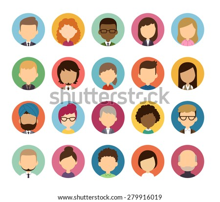 Set of diverse round featureless avatars isolated on white background. Different nationalities, clothes and hair styles. Cute and simple flat cartoon style. - stock vector