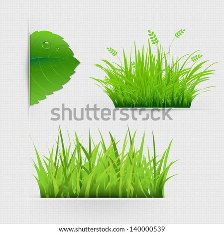 Set Of Dividers With Grass With Gradient Mesh, Vector Illustration - stock vector