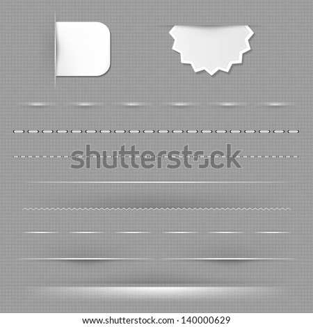 Set Of Dividers With Grey Background With Gradient Mesh, Vector Illustration - stock vector