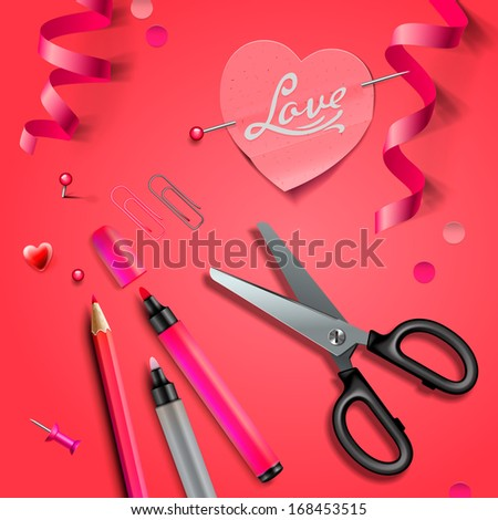 Set of DIY elements for Valentine's Day, vector image.