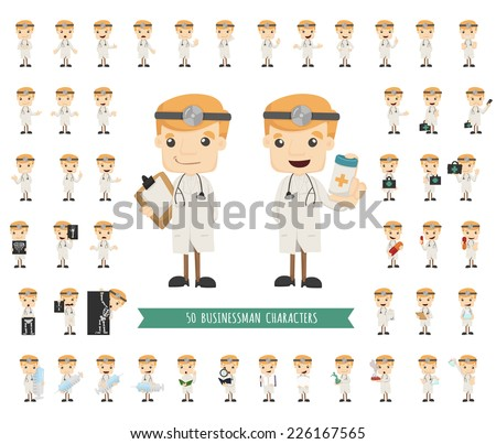 Set of doctor characters poses , eps10 vector format - stock vector