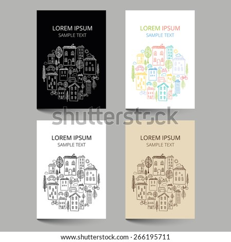 Set of document templates with houses doodles in circle - stock vector