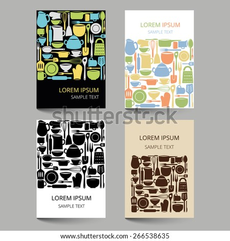 Set of document templates with kitchen utensils - stock vector