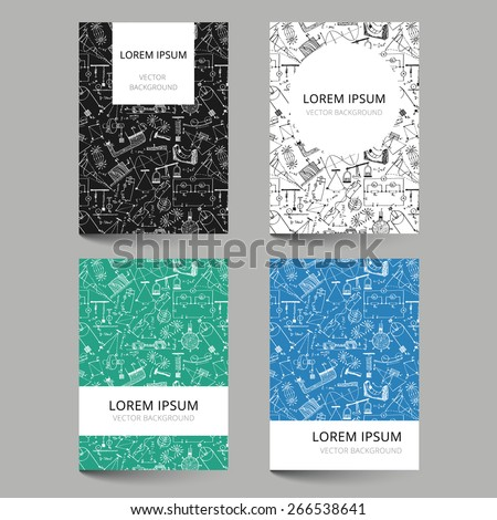 Set of document templates with scribbled physics pattern - stock vector