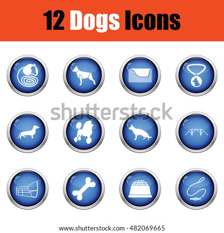 Set of dog breeding icons.  Glossy button design. Vector illustration.