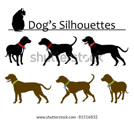 Set of Dog's Silhouettes Vector - stock vector