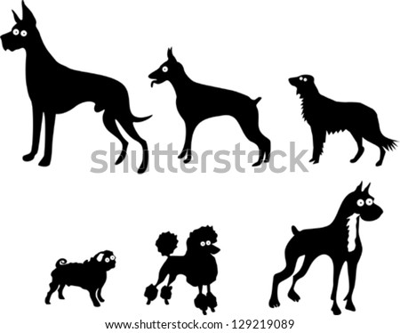Set of Dog Silhouettes - stock vector