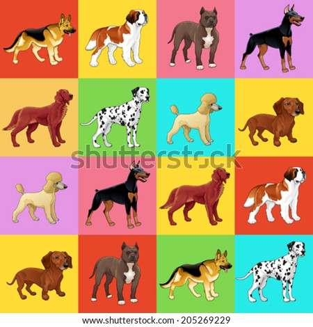 Set of dog with background. For a possible packaging or graphic. - stock vector
