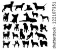 Set of dogs silhouette - stock vector