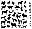 Set of dogs silhouette. Vector. - stock photo