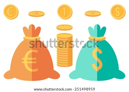 Set of dollar and euro coins and two money sacks - stock vector