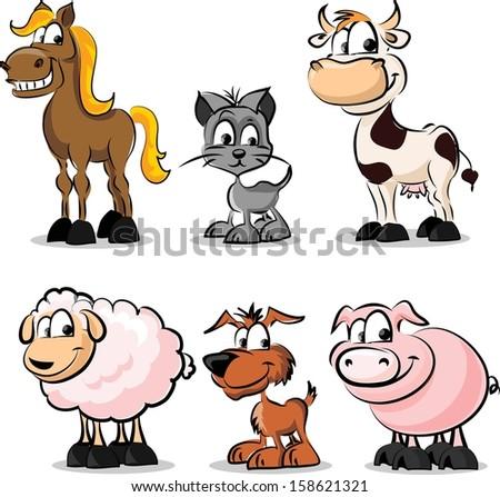 Set of domestic animals - vector  - stock vector