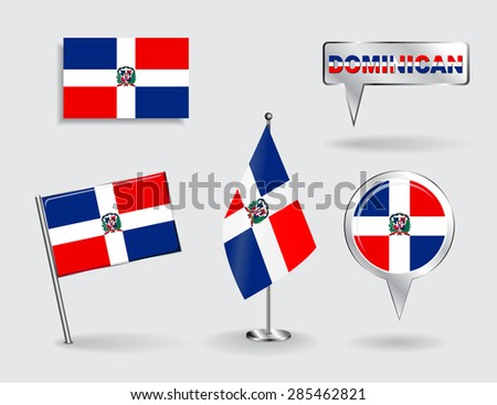 Set of Dominican Republic pin, icon and map pointer flags. Vector illustration. - stock vector