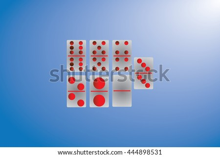 set of dominoes pieces in a row , isolated on blue background - stock vector