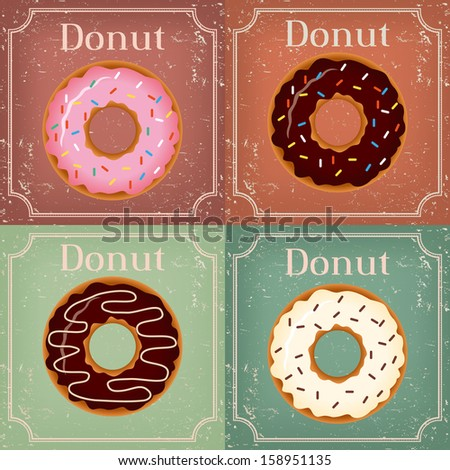 Set of Donuts on vintage background - vector illustration - stock vector