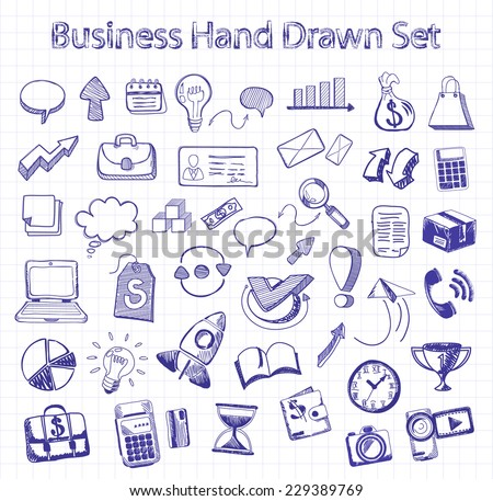 Set of doodle business management infographics elements icons on background in box. Sketch collection of man bubble graph letter badge magnifying glass lightbulb chart arrow bow card. Hand drawn set - stock vector