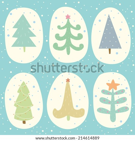Set of doodle Christmas trees. EPS 10. No transparency. No gradients. - stock vector