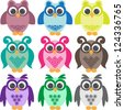 set of doodle colorful owls - stock vector