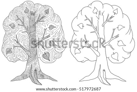 Set Doodle Coloring Book Adult Tree Stock Vector (2018) 517972687 ...