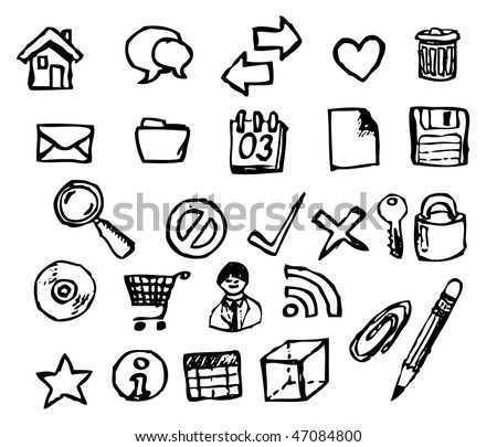Set of doodle computer icons for your webdesign