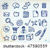 Set of doodle computer icons for your webdesign on squared paper - stock vector