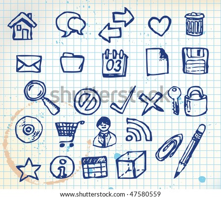 Set of doodle computer icons for your webdesign on squared paper