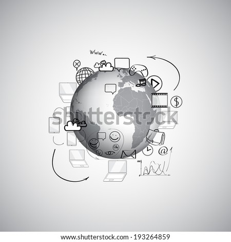 Set of doodle design vector illustration concepts for cooperation - stock vector