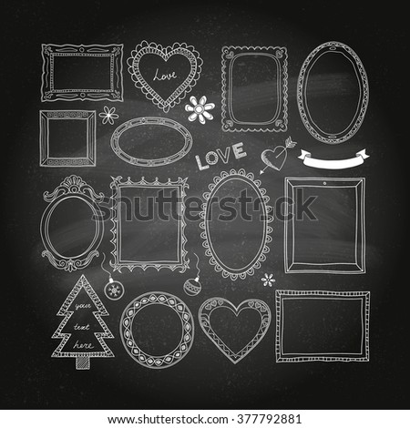 Set of doodle frames and different elements on a chalkboard background. - stock vector