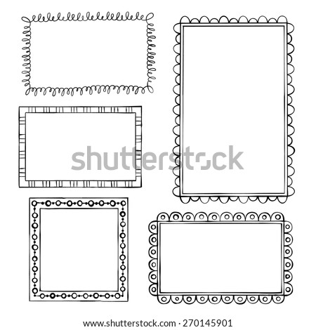 Set of doodle frames on white background - stock vector