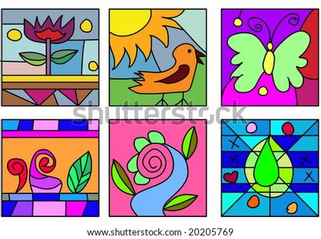 Set Of Doodle Glass Paint Illustration Also Useful For Kids Stuff
