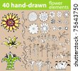 Set of doodle hand-drawn flower elements. Layered and easy to colorize. - stock vector