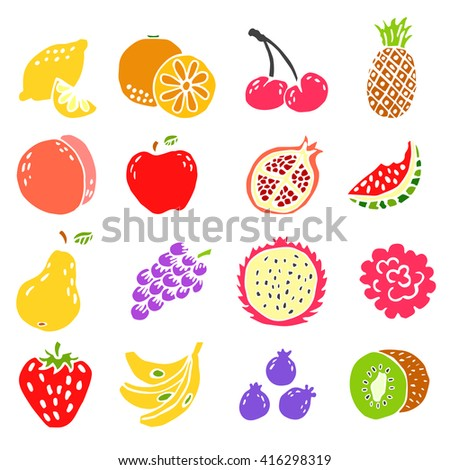 set of doodle hand drawn fruit icon vector illustration esp10