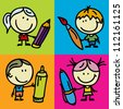 Set of doodle happy children with pen, pencil and paintbrush - stock photo