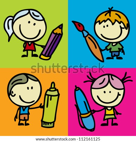 Set of doodle happy children with pen, pencil and paintbrush - stock vector