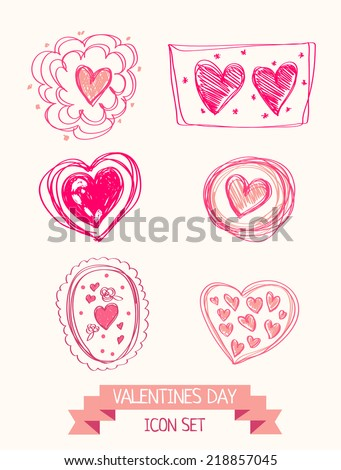 set of doodle heart icons for valentines day, vector illustration - stock vector