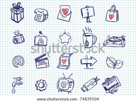 set of doodle icons