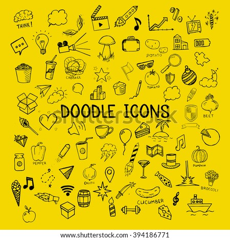 Set of doodle icons, vector hand-drawn objects on yellow background