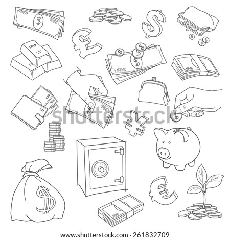 Set of doodle money symbol vector illustration - stock vector
