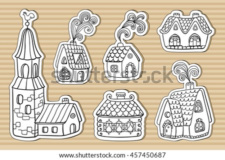 Set Of Doodle Outline Hand Drawn Cardboard Buildings Rustic Old European Fairy Tail Houses With