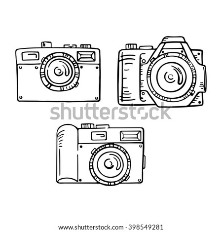Set of doodle photo cameras. Vector hand draw illustration. Sketch lines. - stock vector