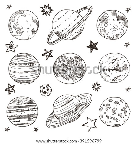 Set of doodle planet. Hand drawn vector illustration. Solar system. Uranus, mercury, neptune, mars, moon, saturn, jupiter, pluto, venus. - stock vector