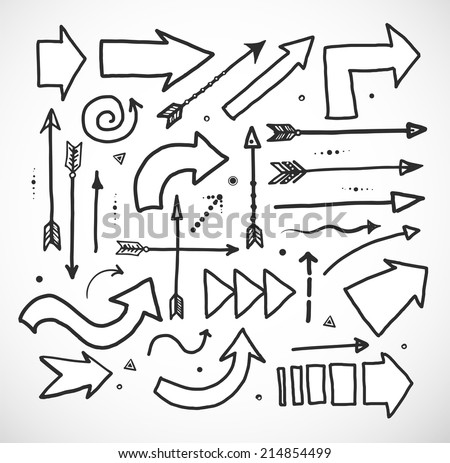 Set of doodle sketch arrows. Vector illustration. - stock vector