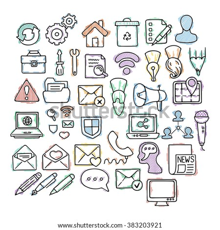 Set of doodle web, computer and drawing icons. Hand draw collection.