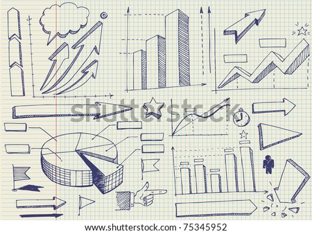 set of doodles. graphics and diagrams - stock vector