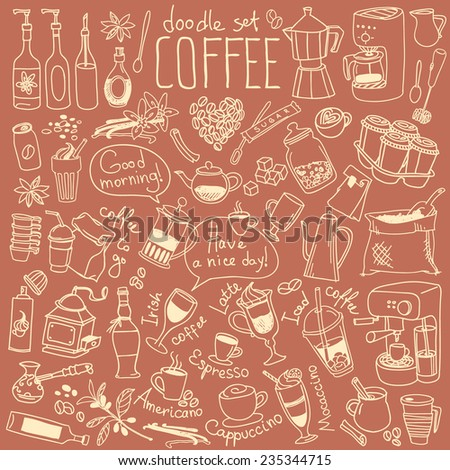Set of doodles, hand drawn rough simple coffee theme sketches, various kinds of coffee, ingredients and devices for coffee making. Vector isolated on brown background for cafe menu, fliers, chalkboard - stock vector