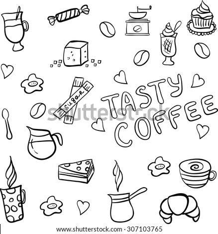 Set of doodles, hand drawn rough simple coffee theme sketches, various kinds of coffee, ingredients and devices for coffee making with tasty cakes and candies. Vector isolated on white background for - stock vector